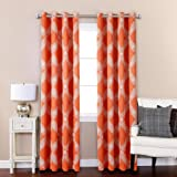 Vinyl Free Natural Blackout Room Darkening Printed Curtains Window Panel Drapes for Kids Room, 52 inch Wide by 63 inch Long - Paisley Orange (Set of 2)