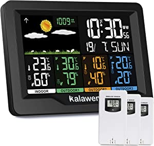 Kalawen Weather Stations Wireless Indoor Outdoor Weather Forecast Station with Color LCD Display, DCF Wireless Digital Alarm Clock, 3 Remote Sensor, Humidity Temperature Monitor, Barometer