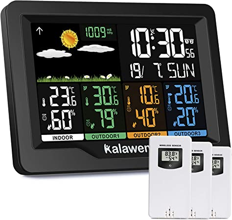 Amazon Com Kalawen Weather Stations Wireless Indoor Outdoor Weather Forecast Station With Color Lcd Display Dcf Wireless Digital Alarm Clock 3 Remote Sensor Humidity Temperature Monitor Barometer Garden Outdoor