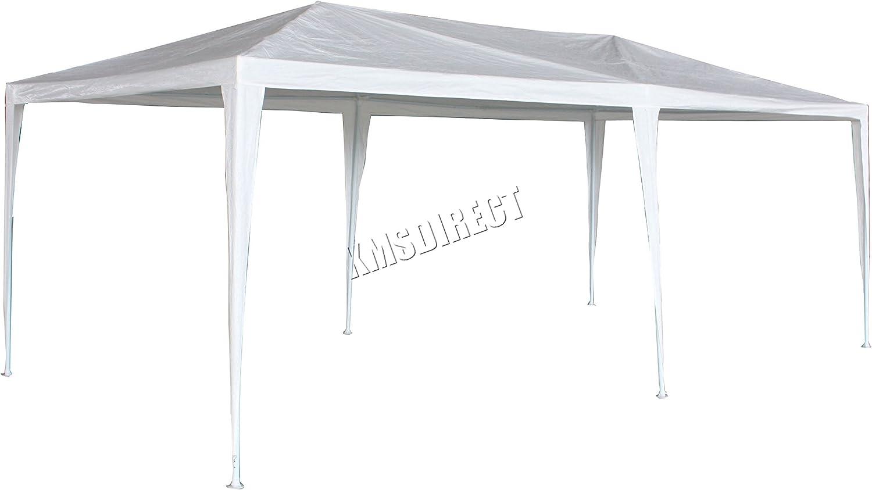 Cenador impermeable de polietileno de FoxHunter de 3 x 6 m, estructura de acero lacado con dos vigas de apoyo, toldo blanco de poliéster: Amazon.es: Jardín