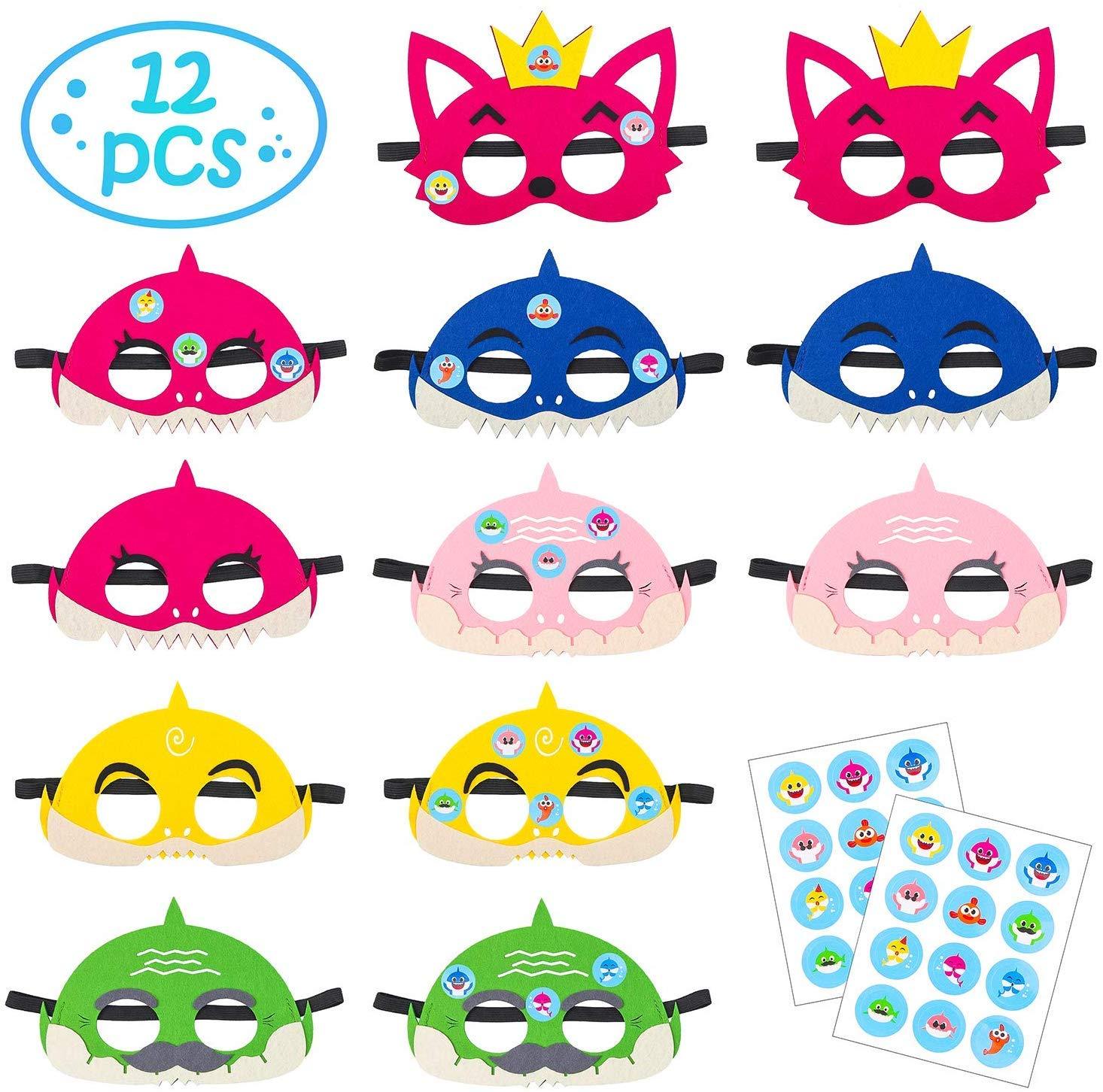 BESLIME Baby Shark Masks, Little Shark Masks Set Shark Party Favors Children Cosplay Soft Mask Half Masks Birthday Themed Party Masks with Cute Shark Stickers Felt Masks for Kids Boys Girls,12Pcs