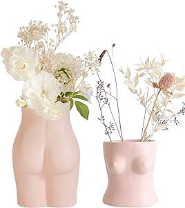 Base Roots Body Flower Vase, Vases for Decor, Chic Boho Modern Home Decor, Large Vase, Small Accent Piece for Living Room, Indoor Plant, Shelf, Mantle, Table, Office, Desk, Dorm Room