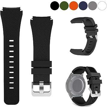 kitway Galaxy Watch 46mm / Gear S3 Correa, Silicona Suave Deportiva Pulsera de Repuesto para Samsung Gear S3 Frontier/S3 Classic/Moto 360 2nd Gen 46 ...