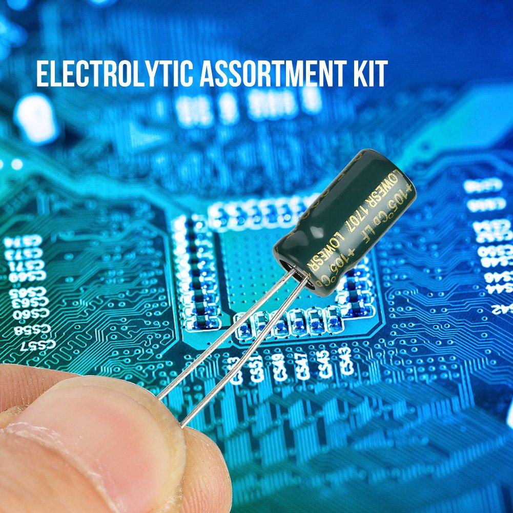 10 Valeurs 100pcs Haute Qualit/é Audio Kit Condensateur /Électrolytique Assortiment Composants /Électroniques avec Bo/îte de Stockage