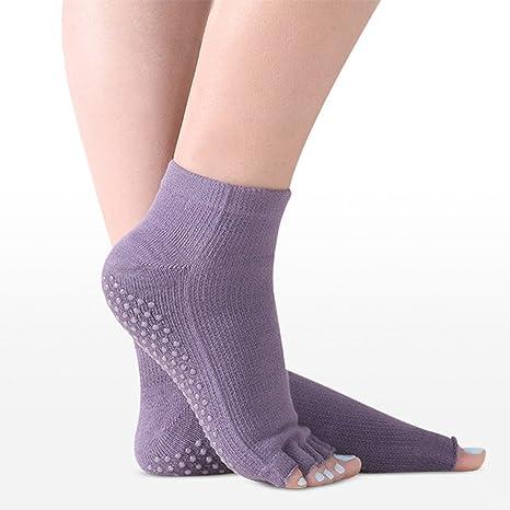 Sin dedos Yoga calcetines del dedo antideslizante en silicona Grips para mujer Fitness