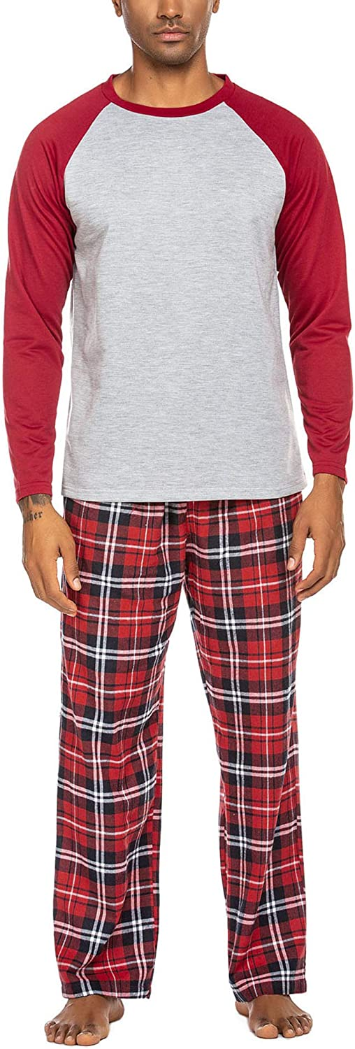 Ekouaer Pajama for Men Short Sleeve Pajama and Pants Sleepwear with Pocket Pjs Set