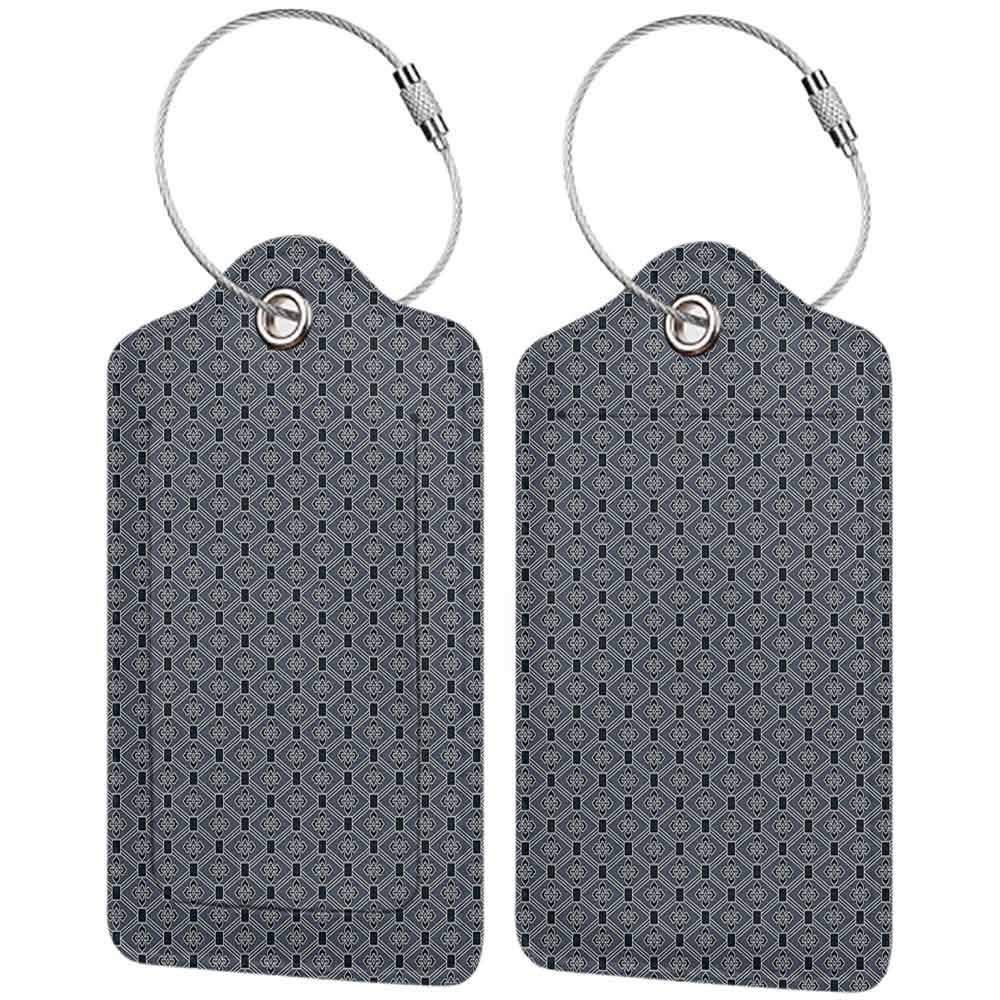 Waterproof luggage tag Japanese Diamond Line Pattern with Squares and Abstract Graphic Flowers Soft to the touch Charcoal Grey Petrol Blue W2.7 x L4.6