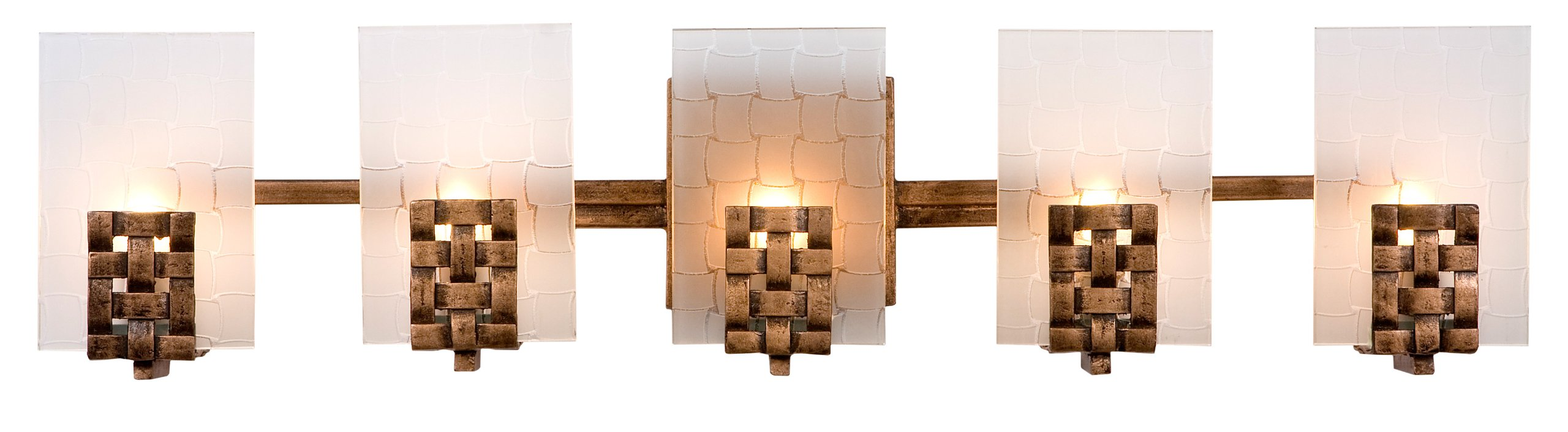 Varaluz 180B05 Dreamweaver 5-Light Vanity - Blackened Copper Finish with Frosted Recycled Glass