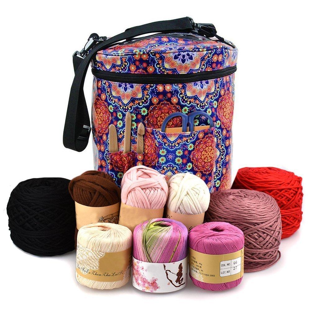 Yarn Storage Round Tote Bag, 27x30cm Knitting Crochet Yarn Holder with Pockets Canvas Storage Organizer (Pattern)