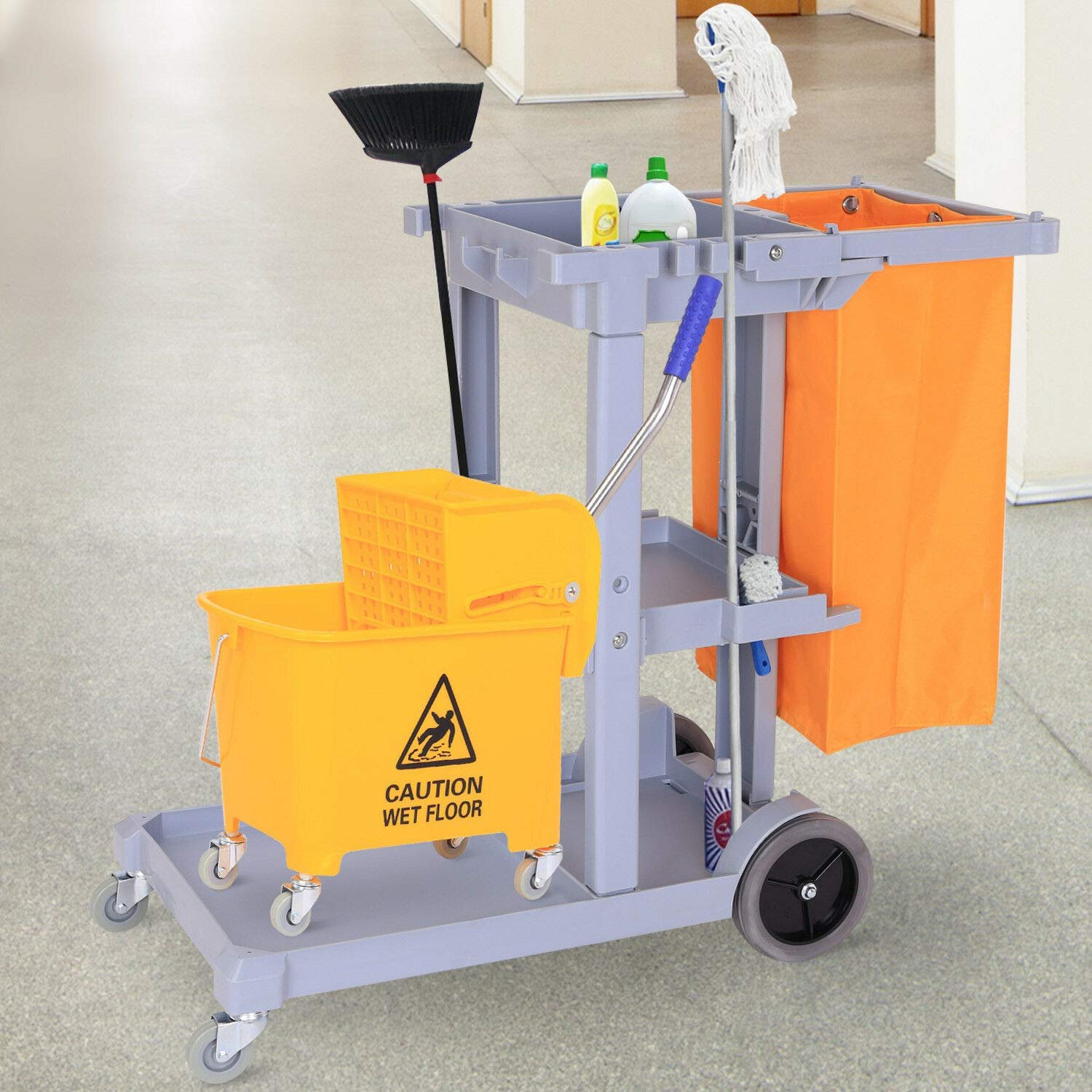 Walomes Janitorial Cleaning Cart Cleaner Cleaning Tool Rolling Janitor UItility Cart w/ 3 Shelves & Vinyl Bag by Walomes