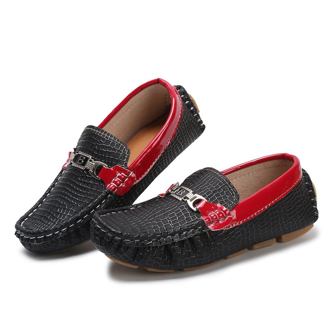 Hawkwell Kids Loafer Moccasin Oxford Driver Shoes(Toddler/Little Kid/Big Kid),Black PU,8 M US