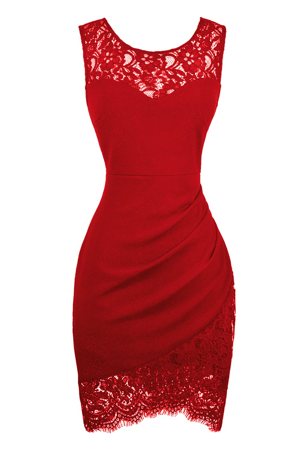 Swiland Women Sleeveless Lace Floral Round Neck Vintage Retro Cocktail Swing Red Dress