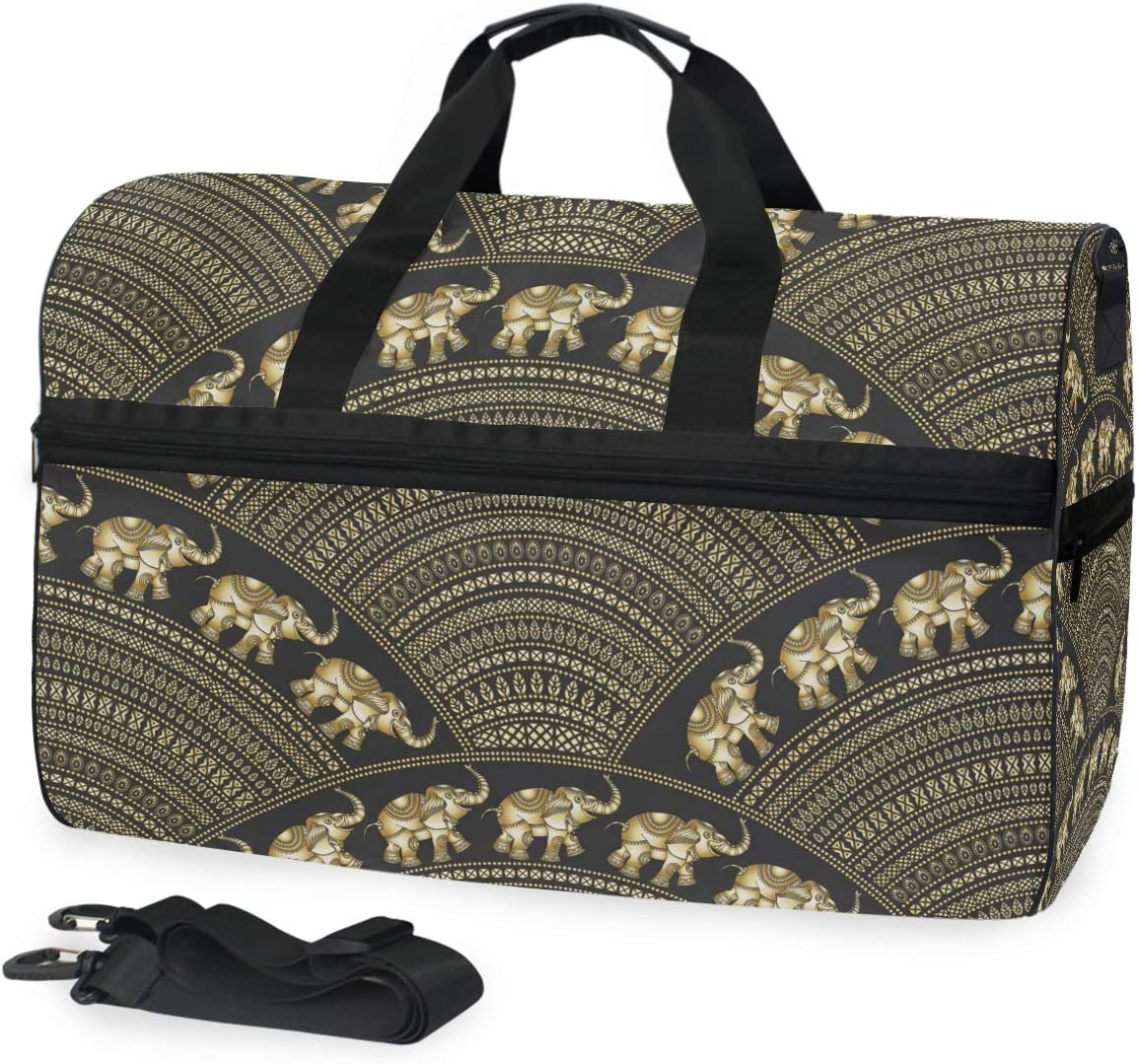 Ethnic Indian Elephant Sports Gym Bag with Shoes Compartment Travel Duffel Bag for Men and Women