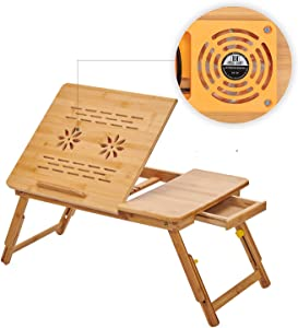 CORATED Bamboo Laptop Desk Adjustable Portable Breakfast Serving Bed Tray Multifunctional Table with Tilting Top Storage Drawer