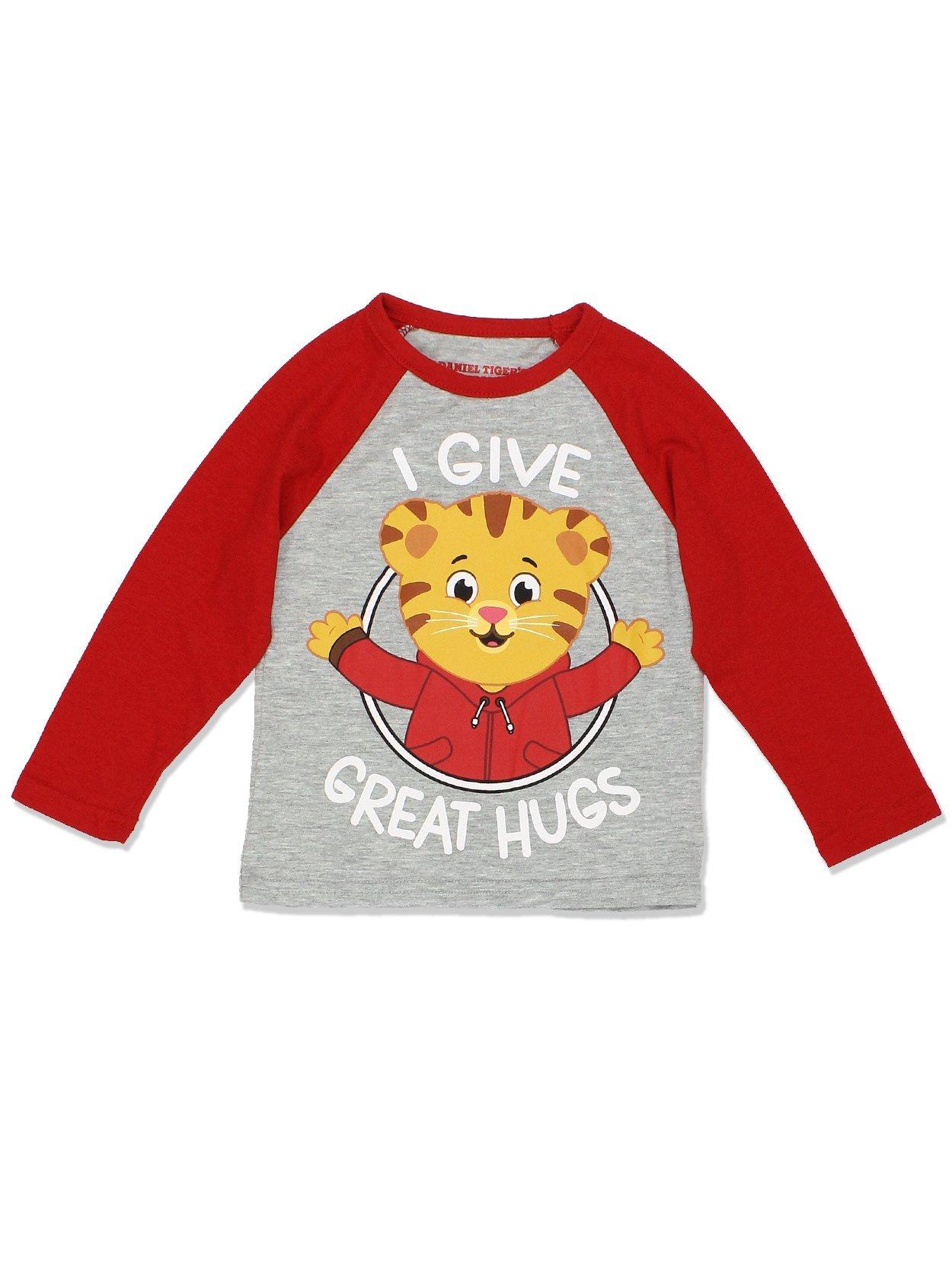 Daniel Tiger Toddler Boys Girls Long Sleeve Tee (2T, Red/Grey)
