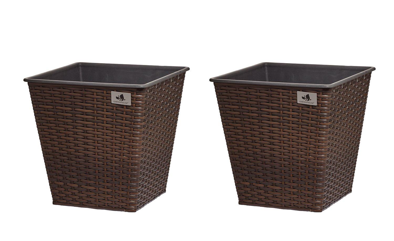 Gartenfreude Set of 2Rattan Waterproof Plastic Planter Plant Pot Cubes–Various Designs 4000-1065-022