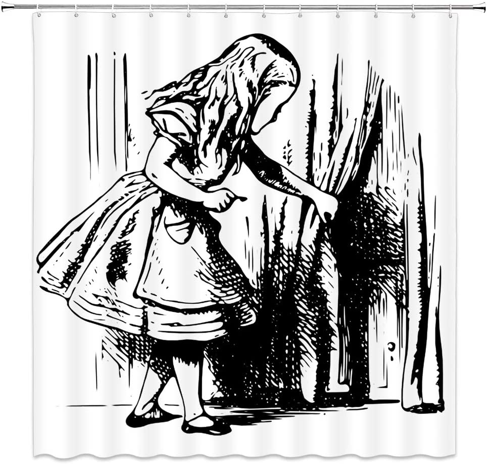 Amazon Com Alice In Wonderland Shower Curtain Black And White Alice Looking Through Curtains Hidden Door Adventure Cloth Fabric Bathroom Decor Set With Hooks 70 Inches Long Black White Kitchen Dining