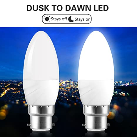JandCase Bombilla LED de 6 W con sensor de luz, B22 Bombillas de vela,