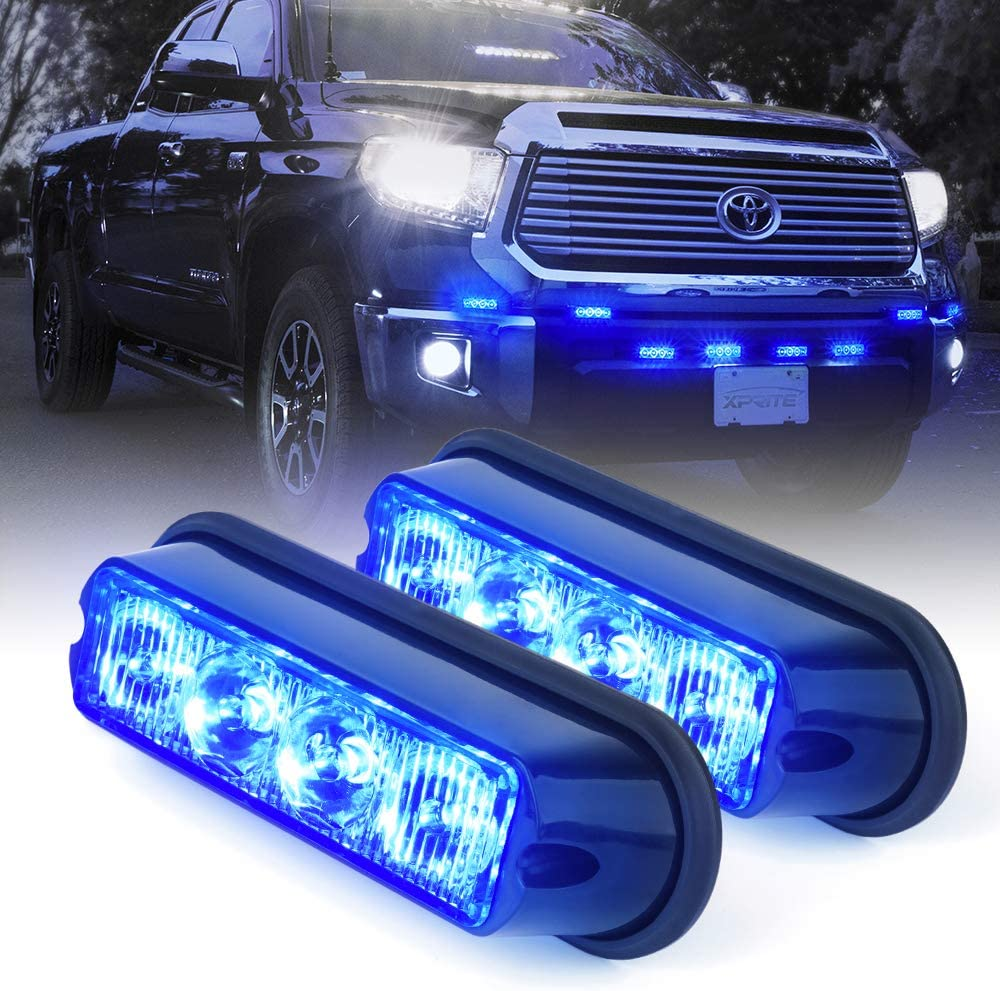 Xprite Blue 4 LED 4 Watt Emergency Vehicle Waterproof Surface Mount Deck Dash Grille Strobe Light Warning Police Light Head with Clear Lens - 2 Pack
