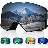 DISUPPO skidskyddsglasögon, skidglasögon med anti-dimma dubbellins, 100 % UV400-skydd, vindtäta snöglasögon för män…