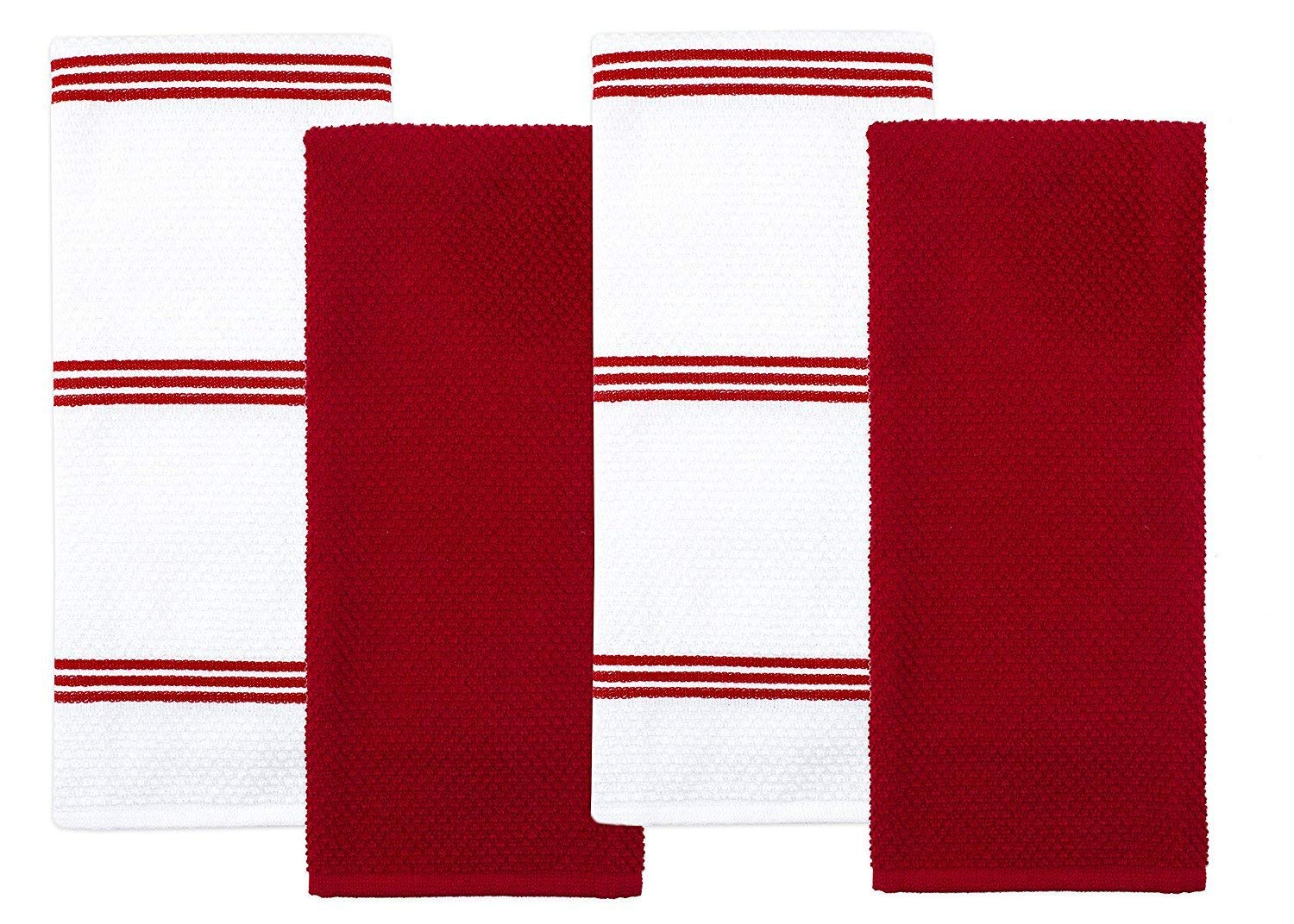 Sticky Toffee Cotton Terry Kitchen Tea Towel, 4 Pack, 28 in x 16 in (Red)