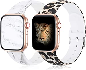 Compatible with Apple Watch Band 38mm 40mm 42mm 44mm Series 3 Series 5, Silicone Floral iWatch Bands Women Replacement Marble Sport Band for iWatch SE Series 6 5 4 3 2 1, Leopard Band for Apple Watch