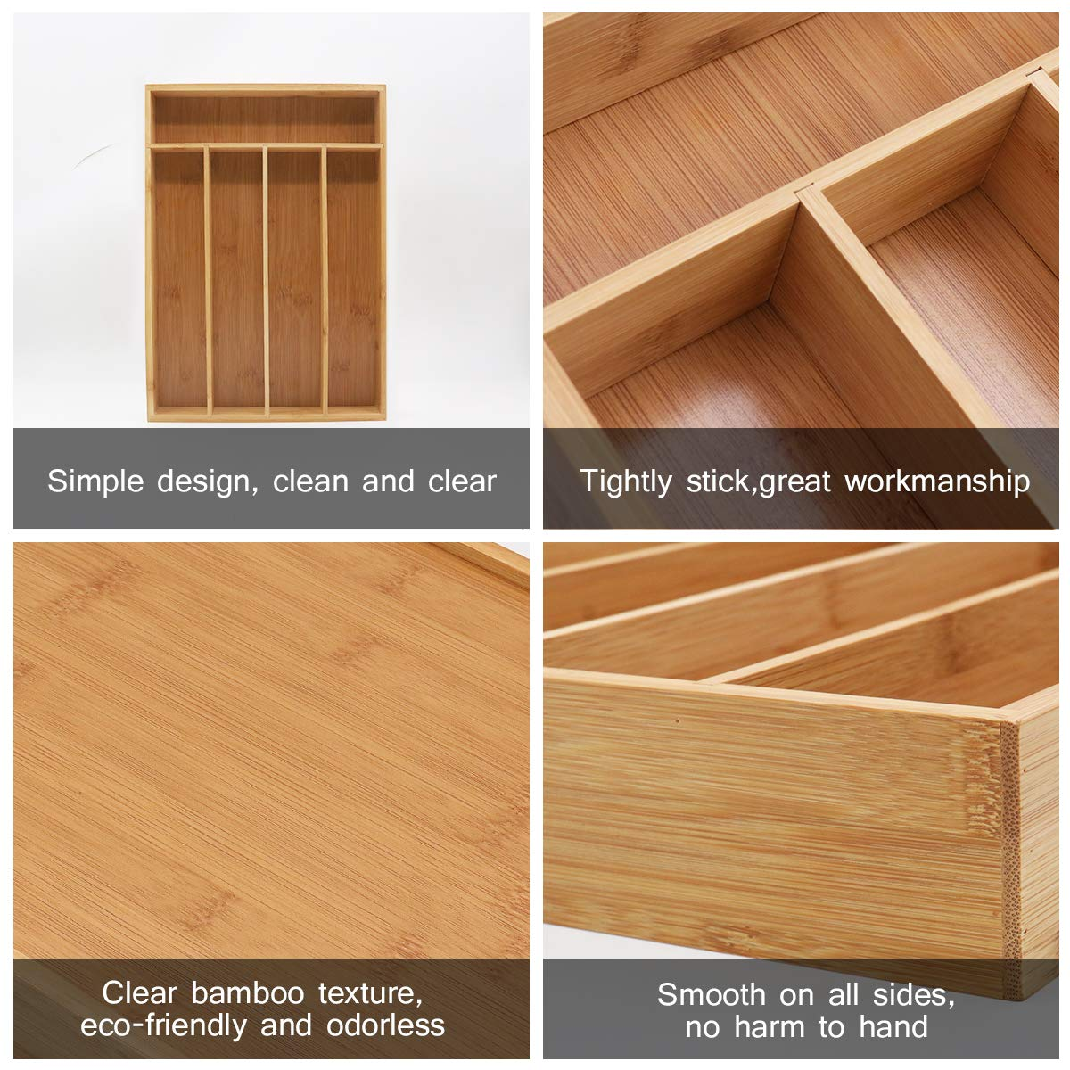 Keyfun Organizers 5-Slot Bamboo Cutlery Drawer Organizer