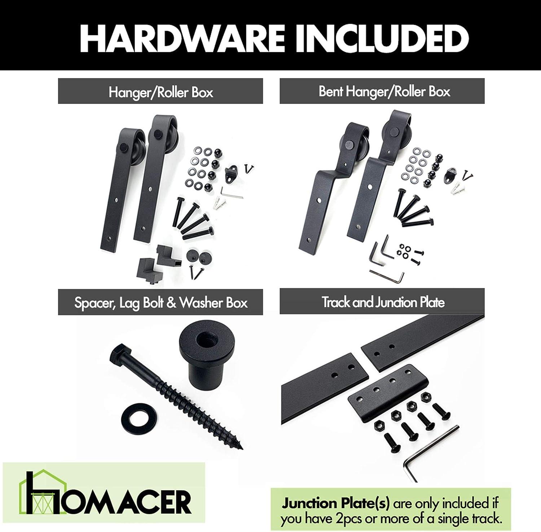 Homacer Sliding Barn Door Hardware Single Track Bypass Double Door Kit Black Rustic Heavy Duty Interior Exterior Use 6FT Flat Track Classic Design Roller