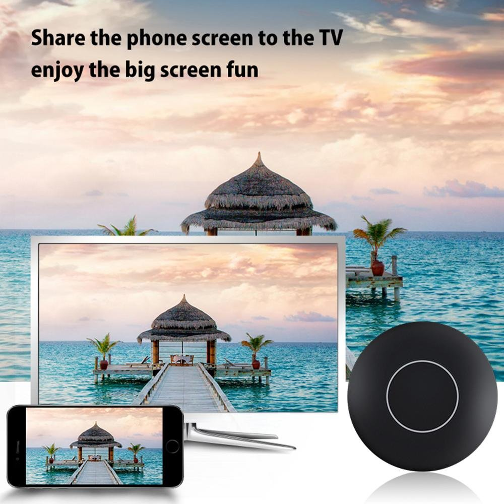 Teepao New Version WiFi Wireless 1080P Mini Display Receiver with AV Output and Marquee Light HDMI TV Miracast DLNA Airplay for IOS/Android/Windows/Mac