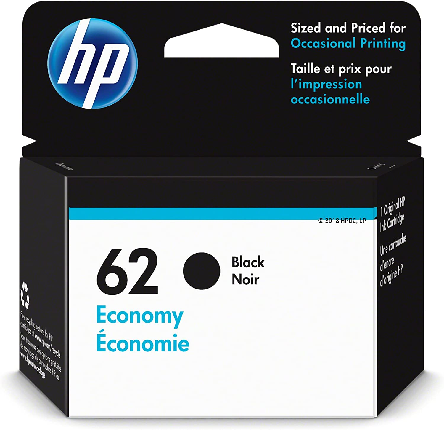 HP 62 | Ink Cartridge | Black | Economy Size | 1VV43AN | Discontinued by Manufacturer