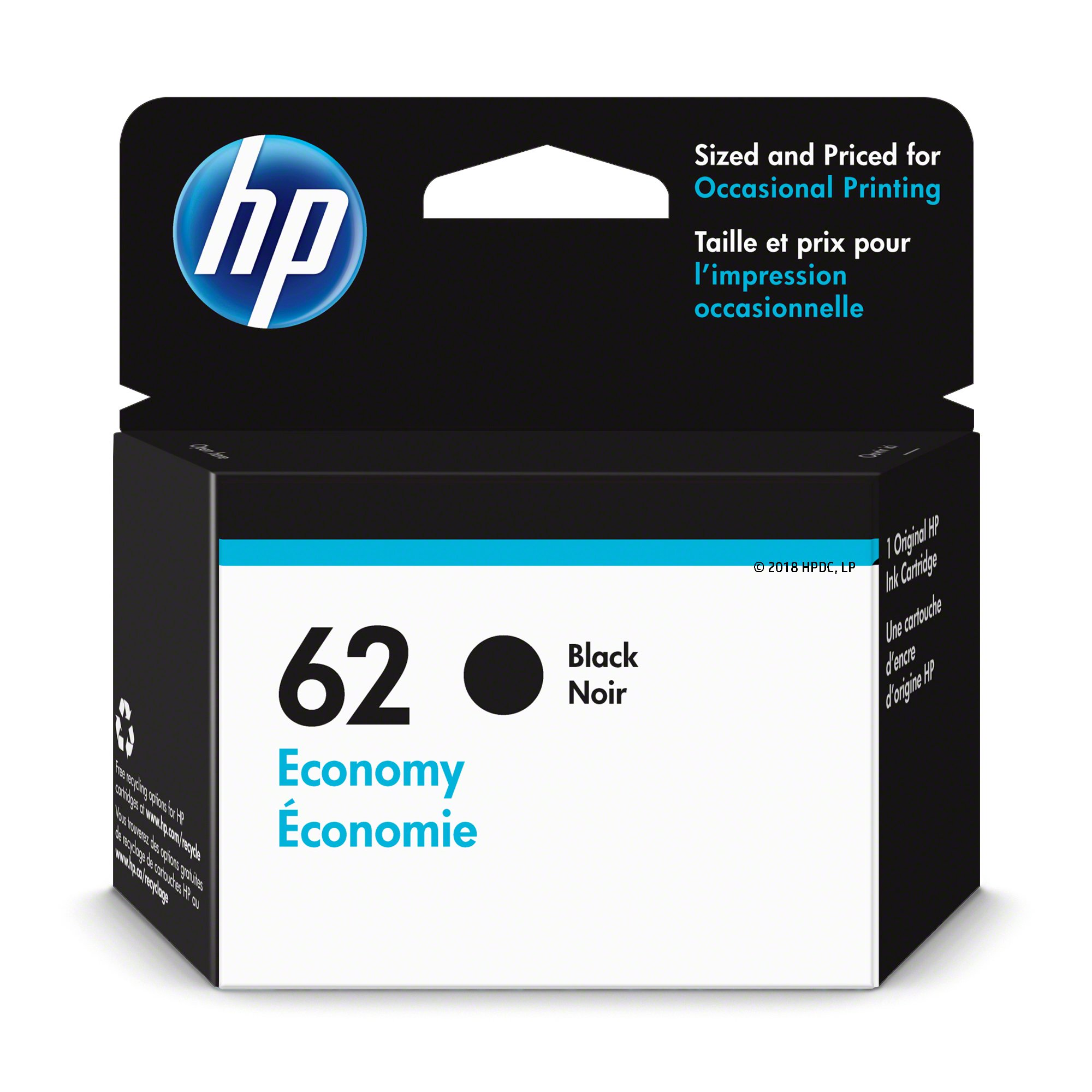 HP 62 Ink Cartridge Black Economy (1VV43AN) for HP Envy 5540 5541 5542 5543 5544 5545 5547 5548 5549 5640 5642 5643 5644 5660 5661 5663 5664 5665 7640 7643 7644 7645 HP Officejet 200 250 258 5740…