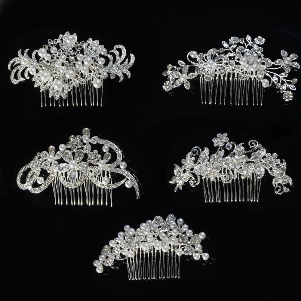 Gentlecarin Pack of 5 Vintage Bling Crystal Hair Comb for Women Princess Luxury Style