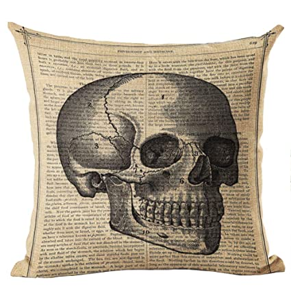 RICHEE-NL Skull Throw Pillow Cover Cushion Case Halloween Linen Sofa Decor, F/4 Pcs