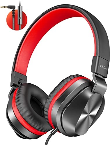 PeohZarr On-Ear Headphones with Microphone, Lightweight Folding Stereo Bass Headphones with 1.5M Tangle Free Cord, Portable Wired Headphones for Smartphone Tablet Laptop Computer MP3 4