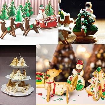 pasutewel 3d cortadores de galletas, 8 pcs juego de cortador de galletas de Navidad –