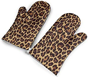 BWBFVPW Leopard Print Oven Mitts Non-Slip Heat Resistant Soft Cotton Lining Kitchen Gloves for Cooking Baking BBQ