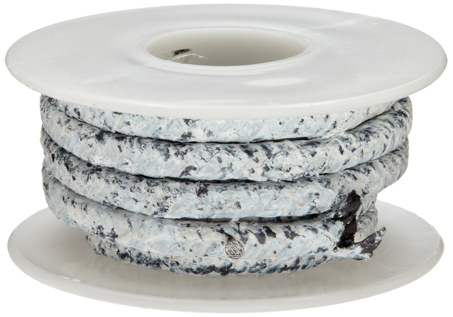 Palmetto 1578 Series Carbon with PTFE Coating Compression Packing Seal, Black with White Coating, 1/2'' Square, 10' Length