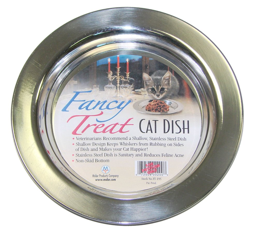 Molor Products Fancy Treat Cat Dish Stainless Steel Each