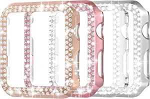 Suppeak 4 Pack Double Bling Case Compatible with Apple Watch Series 3 2 1 38mm, Fashion Crystal Diamonds Back Case Compatible with Apple Watch 38mm,Rose Gold/Silver/Clear/Rose Pink