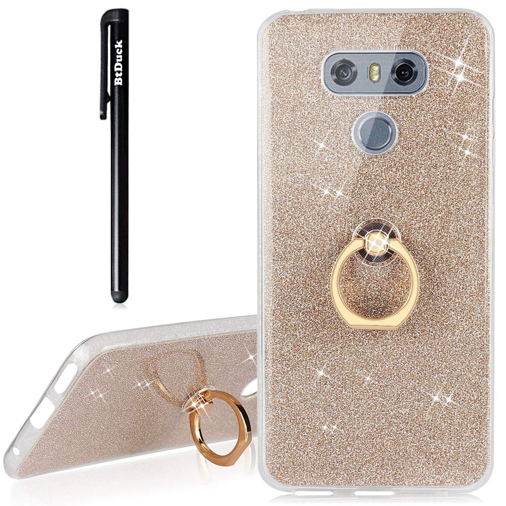 BtDuck Compatible with LG G6 Case LG G6 Glitter Soft TPU Silicone Case Finger Grip Ring Phone Protector Clear View Crystal Cover Slim Fit Phone Protector Clear Case Pink Girl
