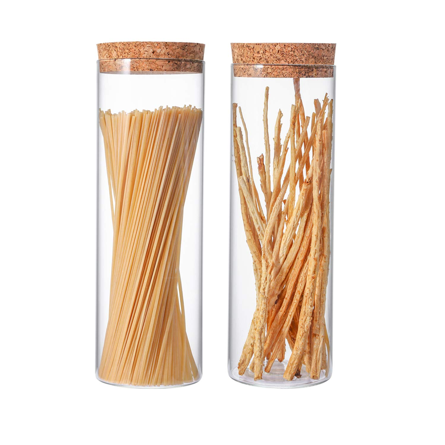 Anleolife Glass Pasta Jars 2-Piece Set, Spaghetti Containers Food Storage Canister for Kitchen, Bonus with Chalkboard Labels (1880ml/66oz)