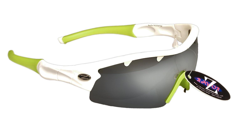 Rayzor - Gafas de sol para deportes, protección UV400, antirreflejos, lente ahumada con ventilación, color azul, RI220WTSM-CR, blanco