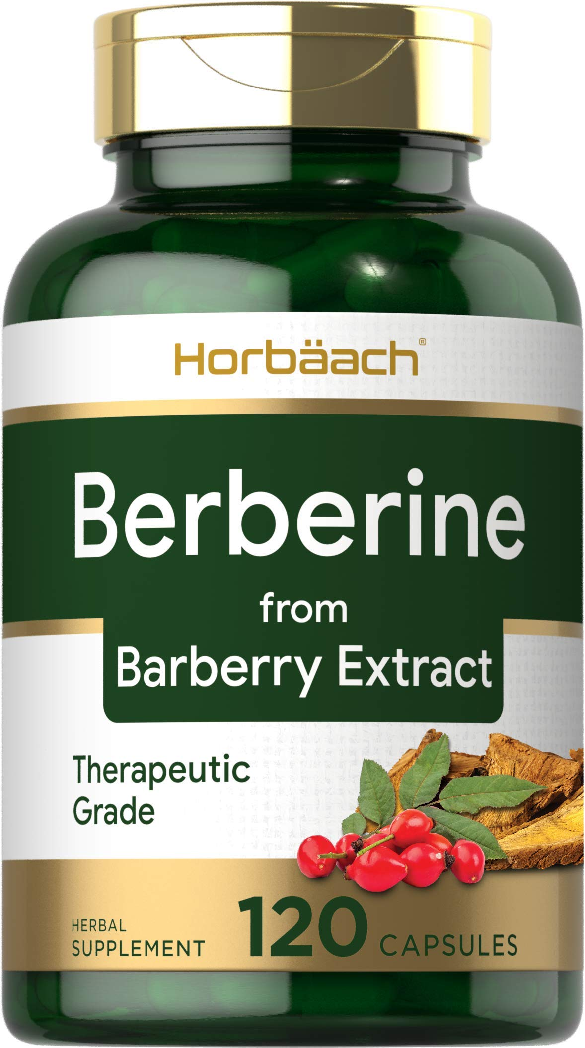Berberine Capsules   120 Count   Non-GMO & Gluten Free   Berberine HCI Supplement   from Barberry Extract   by Horbaach