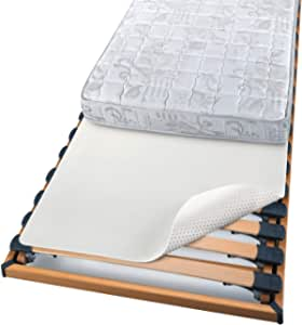 Beautissu Protector somier BEAUTECT embellecedor Cubre somier colchón con Nudos Tex ecológico Siegel Lavable Blanco 120x200 cm