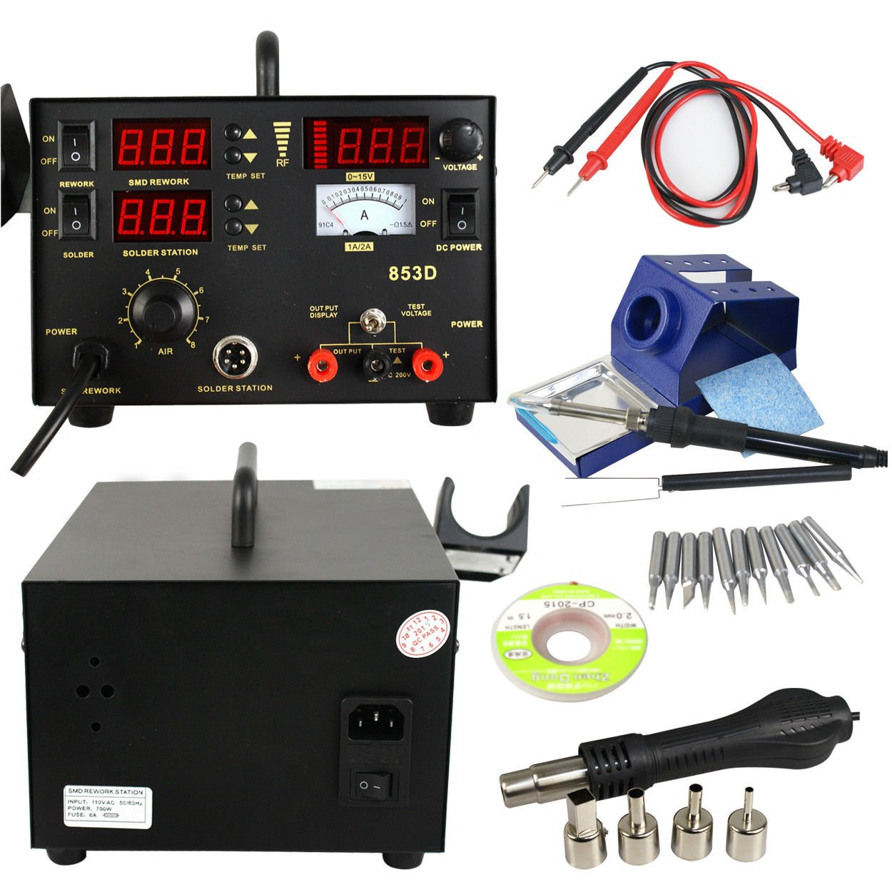 Zd-8901 combine 3 in 1 Digital Soldering Station MULTITESTER-DC Power Supply Compact