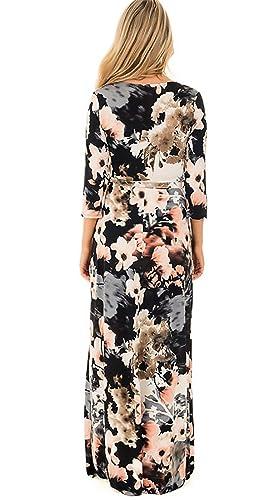 ... Dresses Señoras Moderno Flores Estampados Manga 3/4 V Cuello con Cinturón Moda Slim Maxi Vestido Vestidos Informales: Amazon.es: Ropa y accesorios