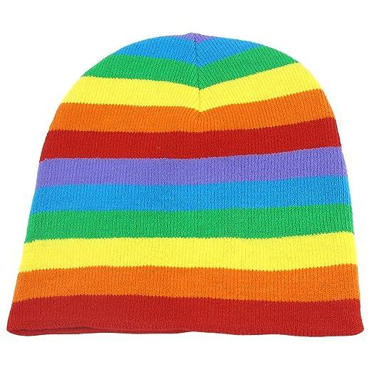 4dc3f5b1e Unisex Rain Color Stretchy Hand Knit Warm Beanie Snowboarding Winter Hat Cap