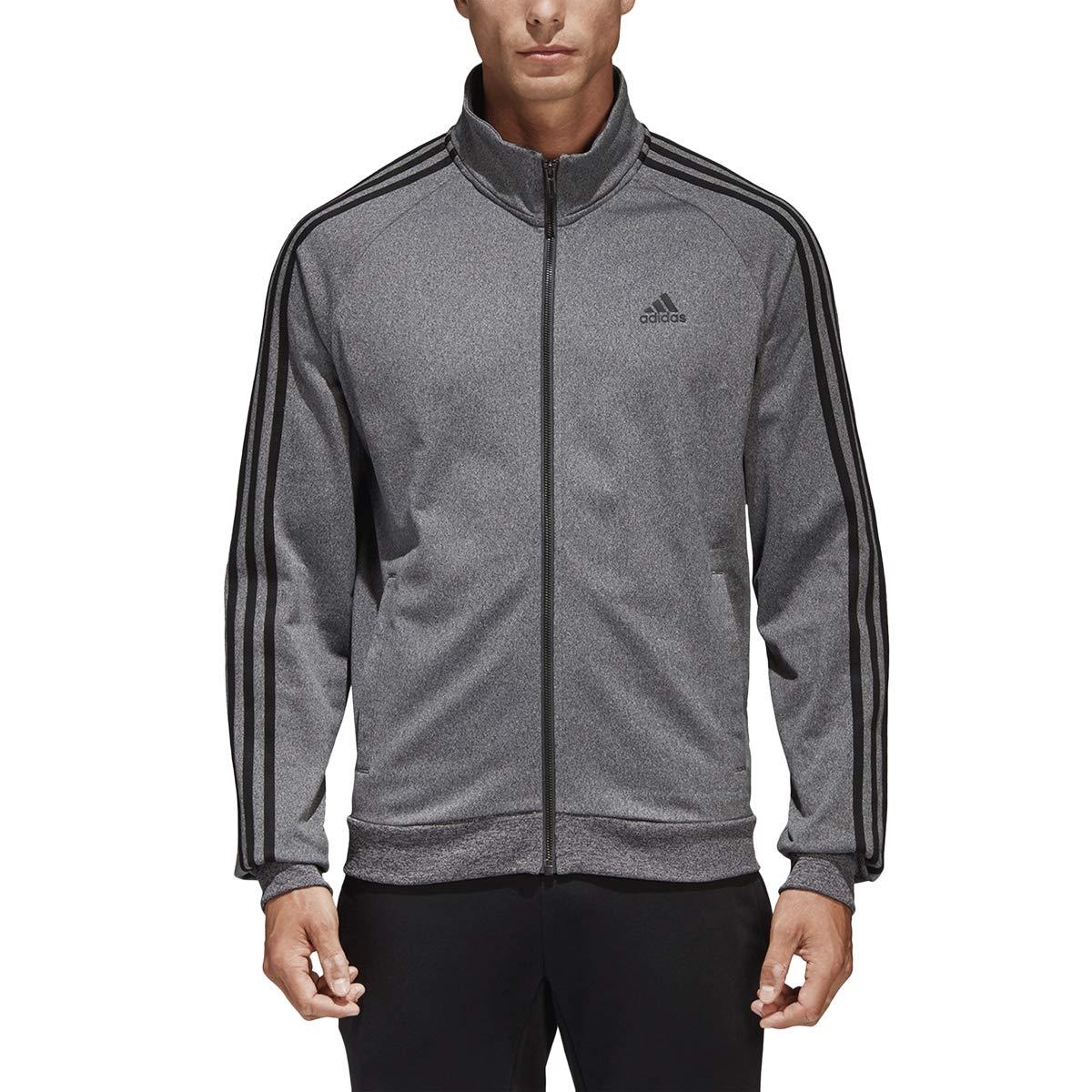9985f6a3ffed2 adidas Men's Essentials 3-Stripe Tricot Track Jacket, Dark Grey/Black,  XX-Large