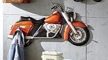 mit 5 Garderobenhaken Haku Wandgarderobe aus Metall in 3D Vintageoptik Motorrad