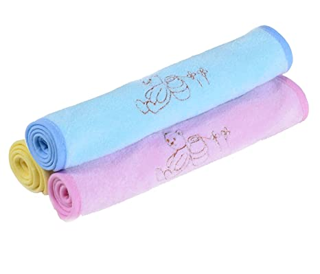 caleqi Cute Little Bear juego de toallas de cara de bambú mezcla de 3 colour-